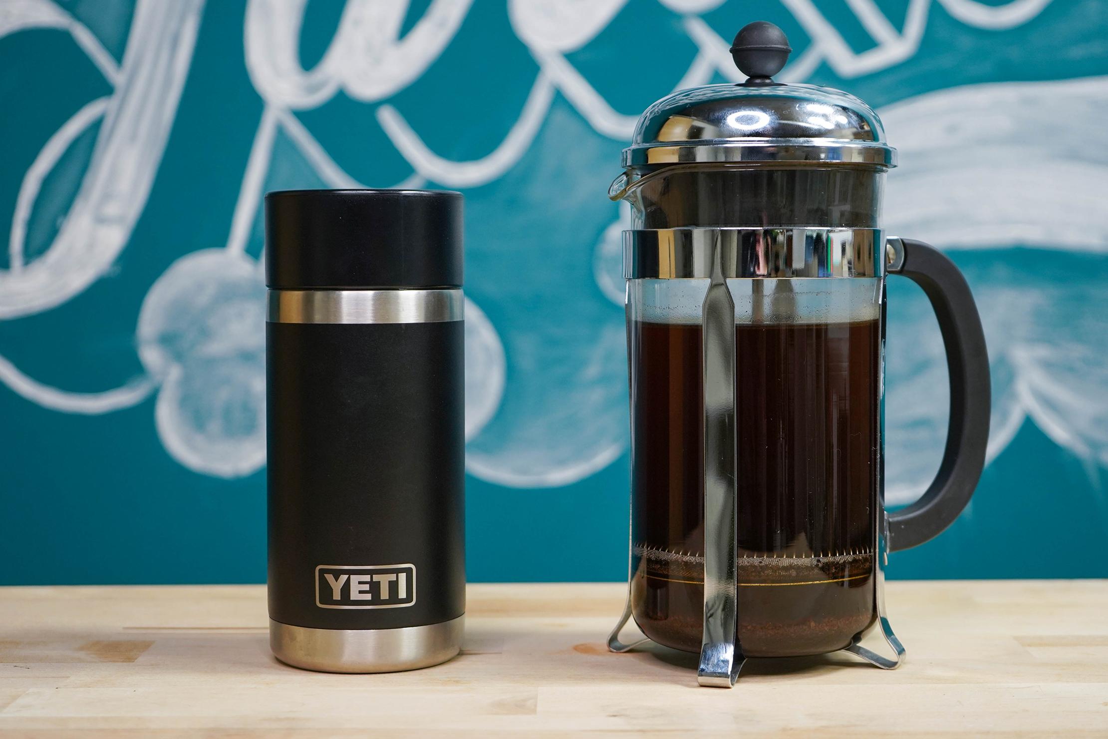 Yeti Rambler 12oz Bottle With HotShot Cap Next To French Press