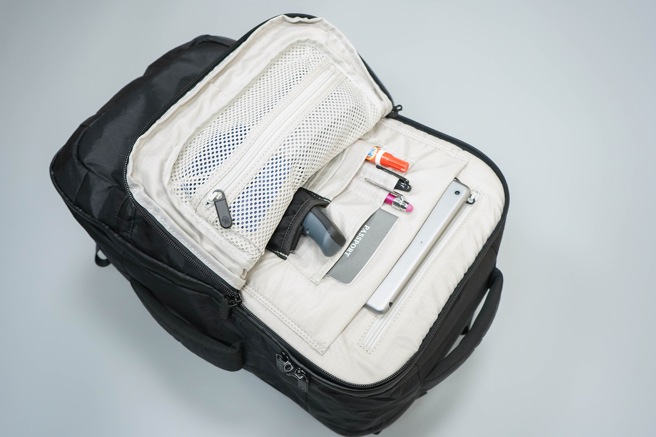 Tortuga Outbreaker Laptop Backpack Front Inside Organization