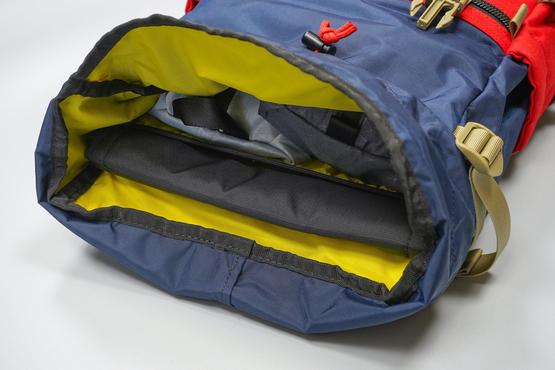 Topo Designs Rover Pack Classic | The bare but bright interior makes visibility easy for a top loader