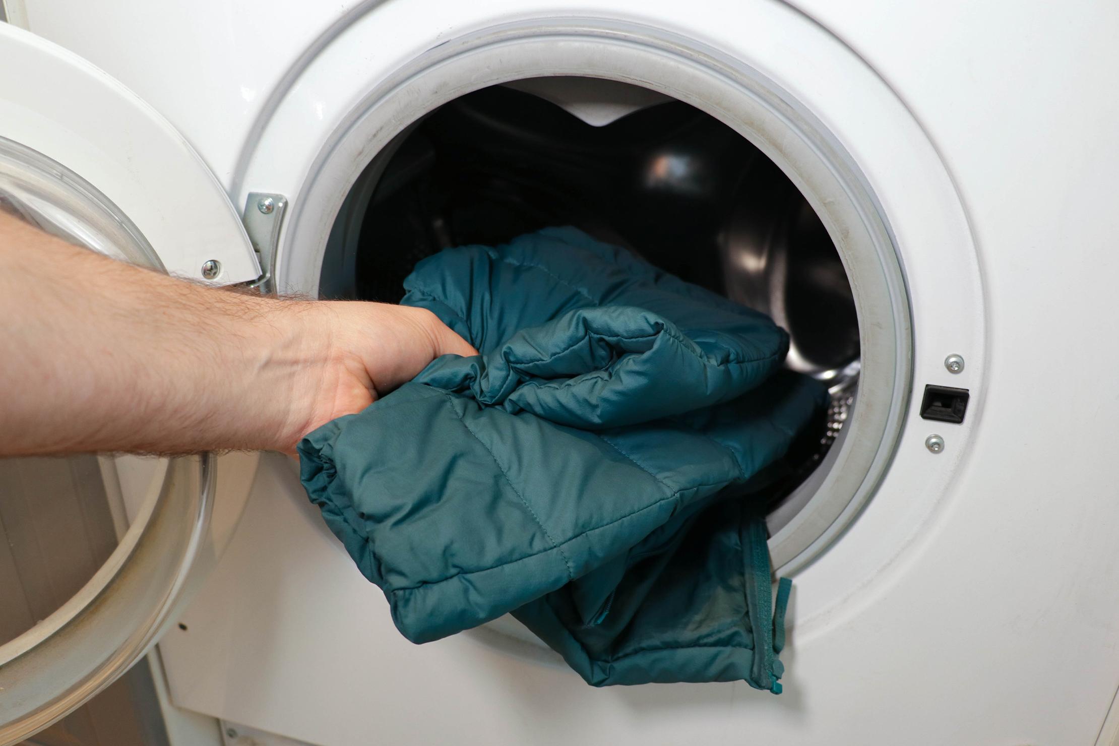 Putting Jacket into Washer
