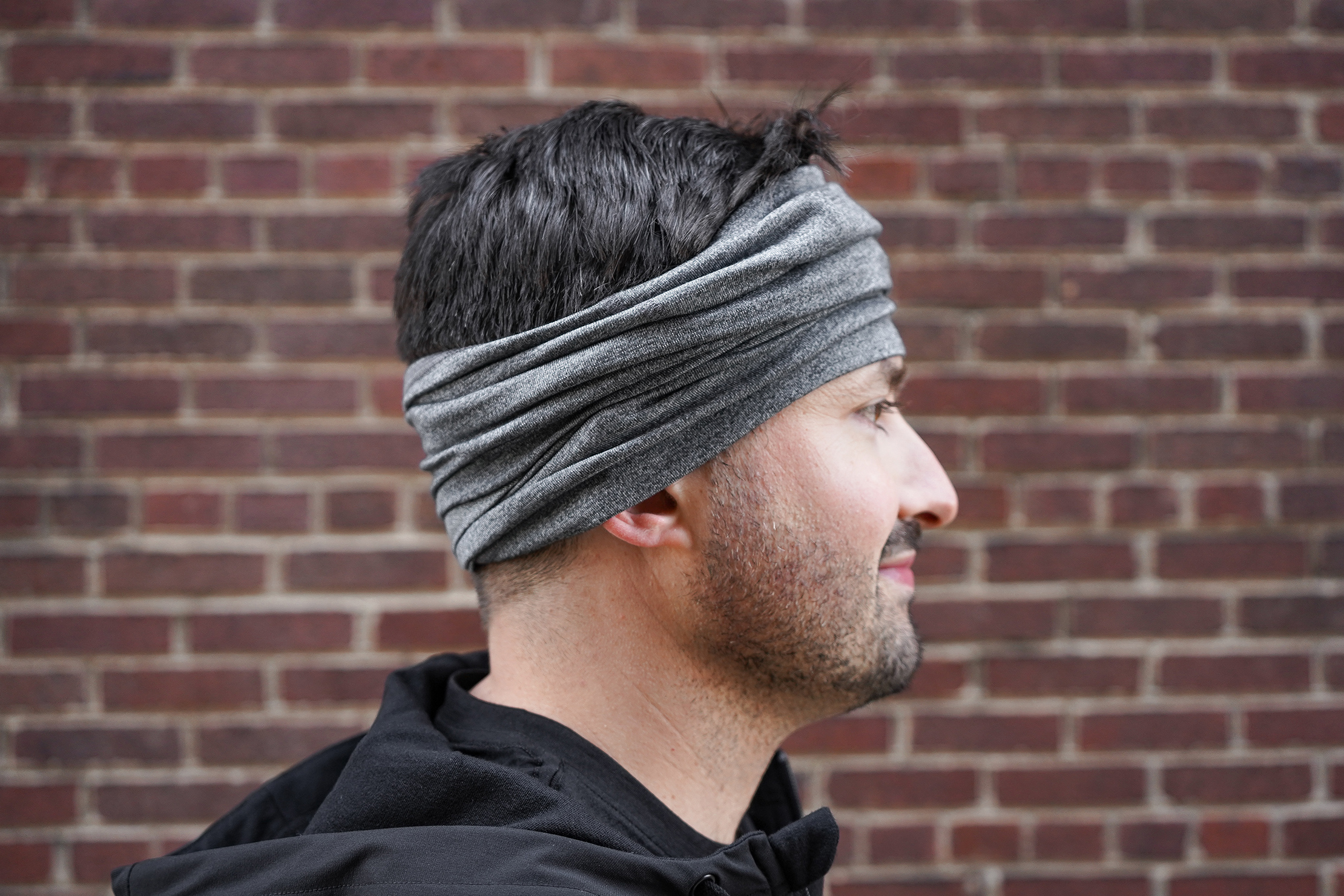 Wool & Prince x Pack Hacker Travel Neck Tube Worn As A Headband
