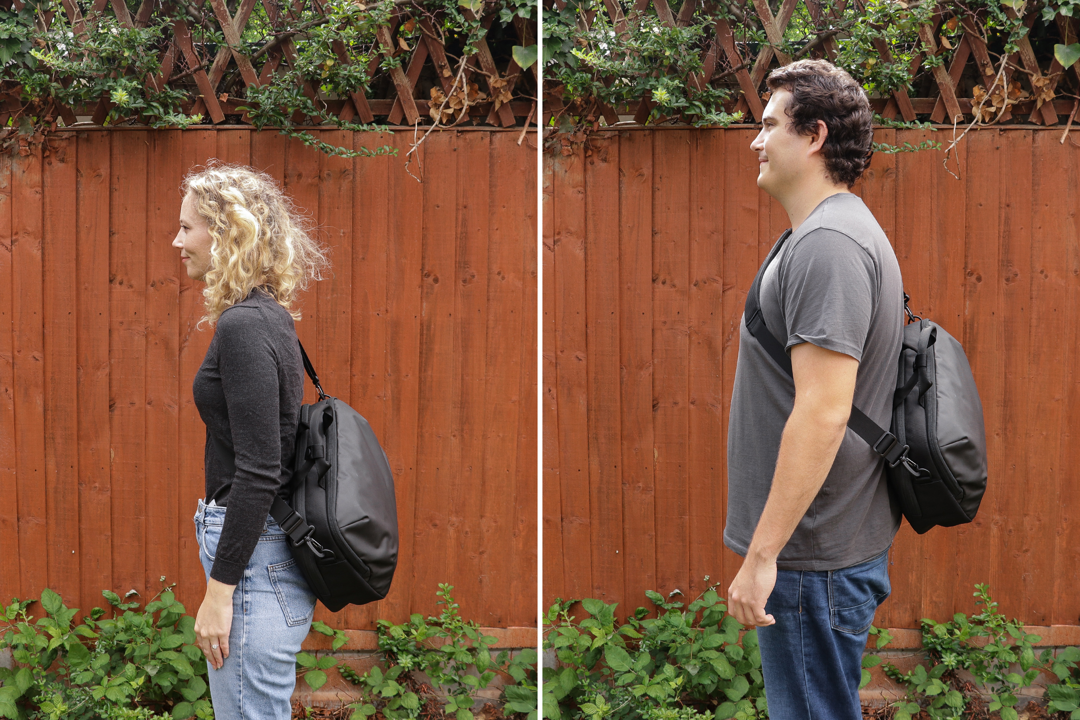 "Left: Rebecca, Height: 5'7"" (170 cm), Torso: 16 in (40 cm)   Right: Nathan, Height: 6'4"" (193 cm), Torso: 19"" (48 cm)"
