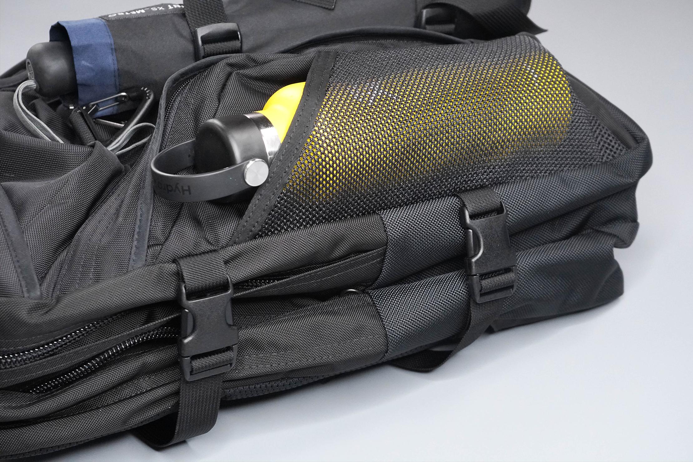 Tom Bihn Brain Bag Water Bottle Pocket and Compression Straps