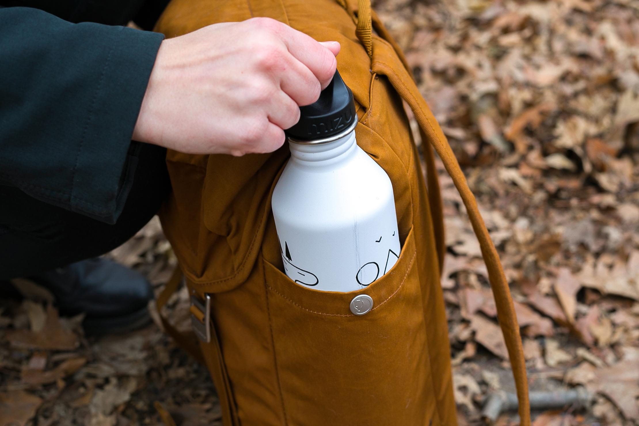 Fjallraven Greenland Top Backpack | Water Bottle Pocket Showing Scratches on Bottle