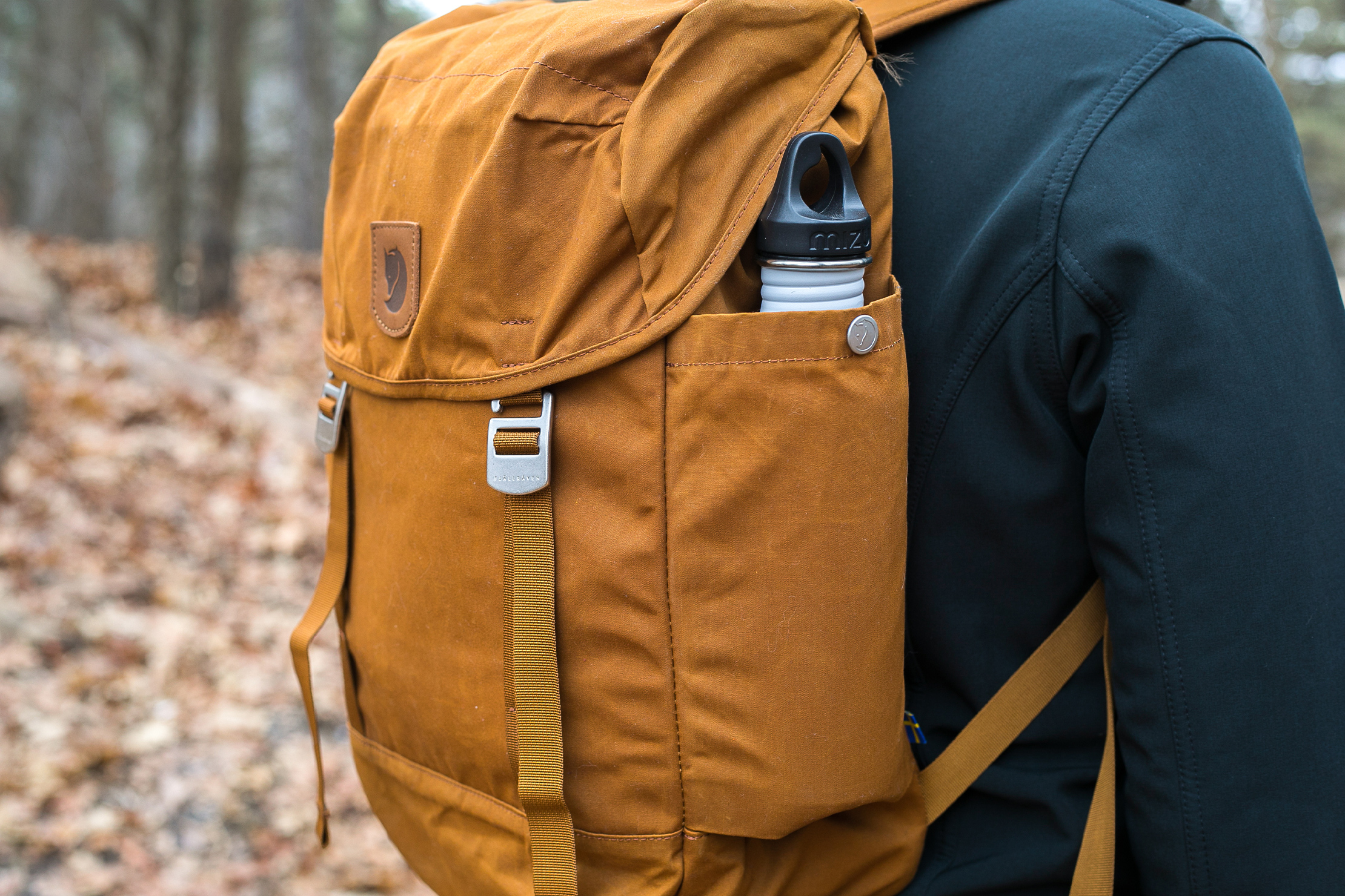 Fjallraven Greenland Top Backpack | Backpack Side View With Water Bottle