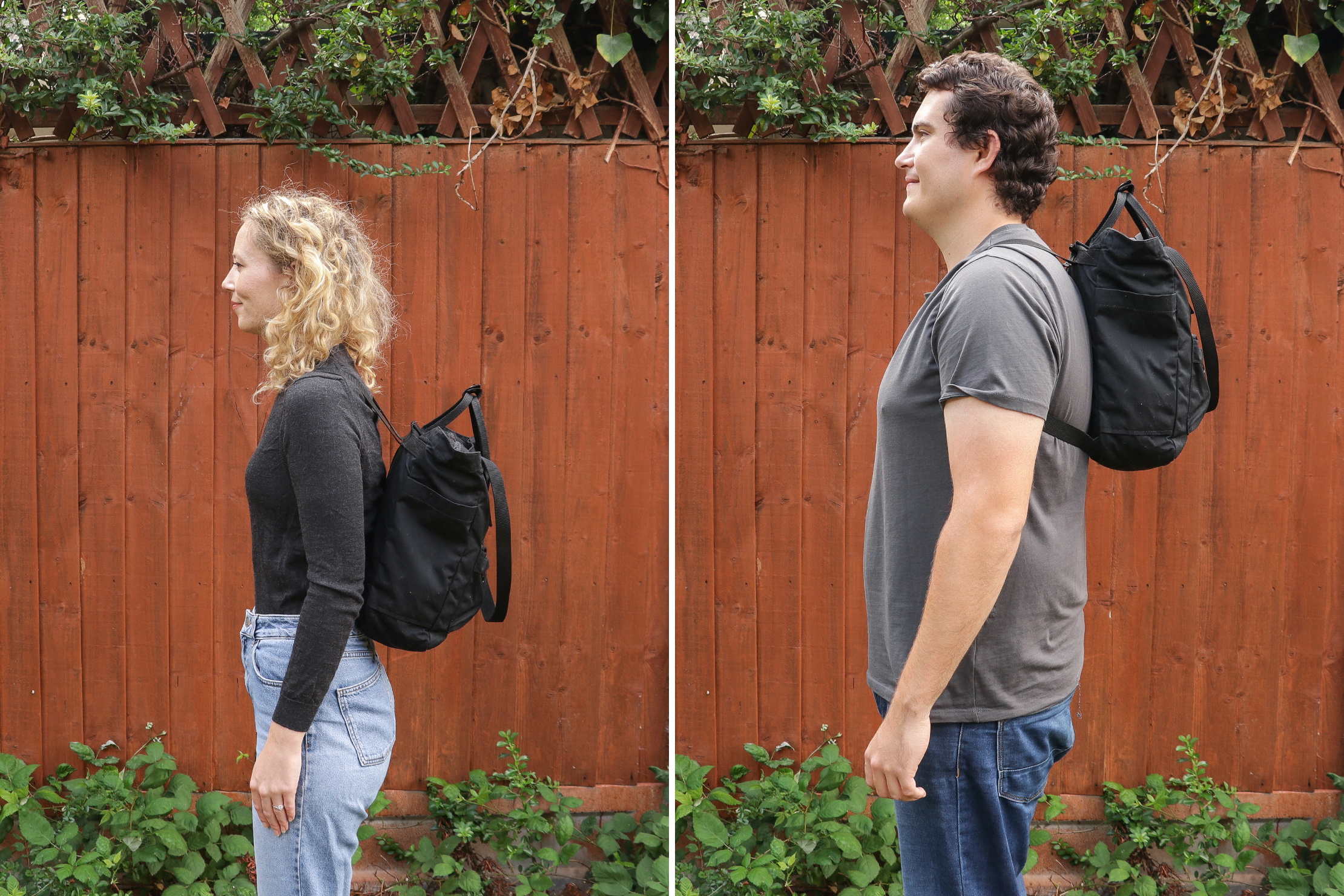 "Left: Rebecca, Height: 5'7"" (170 cm), Torso: 16 in (40 cm) | Right: Nathan, Height: 6'4"" (193 cm), Torso: 19"" (48 cm)"