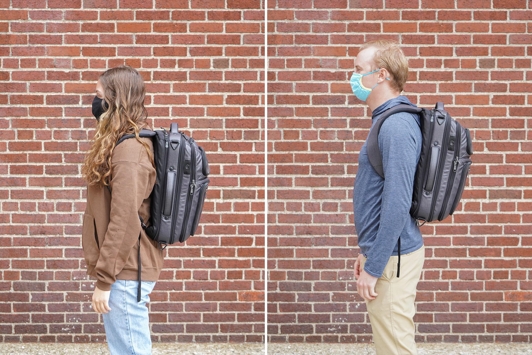 "Left: Riley, Height, 5'4"" (162 cm), Torso: 16.5"" (42 cm) | Right: Mark, Height, 5'10"" (178 cm), Torso: 19"" (48 cm)"