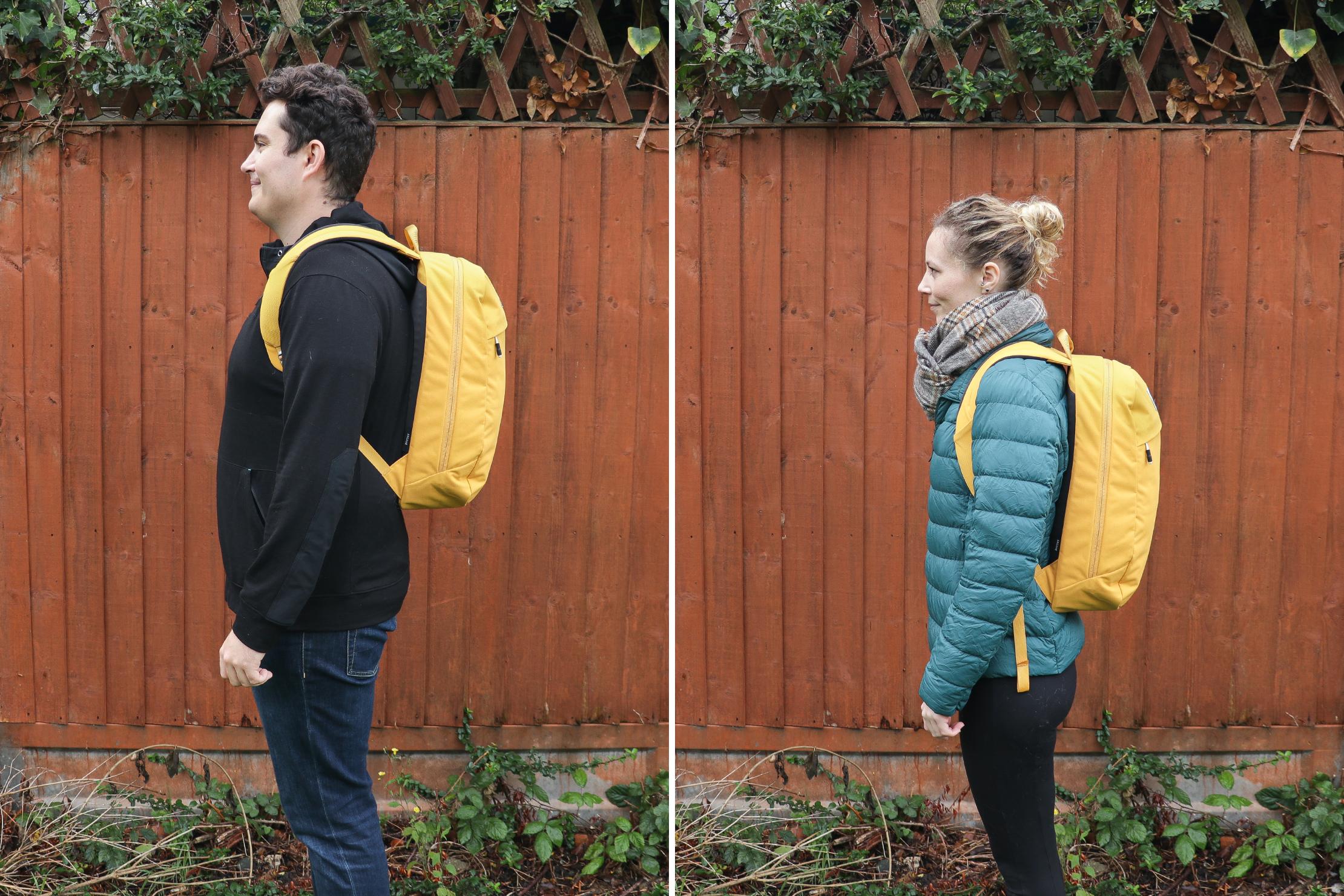 "Left: Nathan, Height: 6'4"" (193 cm), Torso: 19"" (48 cm) | Right: Rebecca, Height: 5'7"" (170 cm), Torso: 16"" (41 cm)"