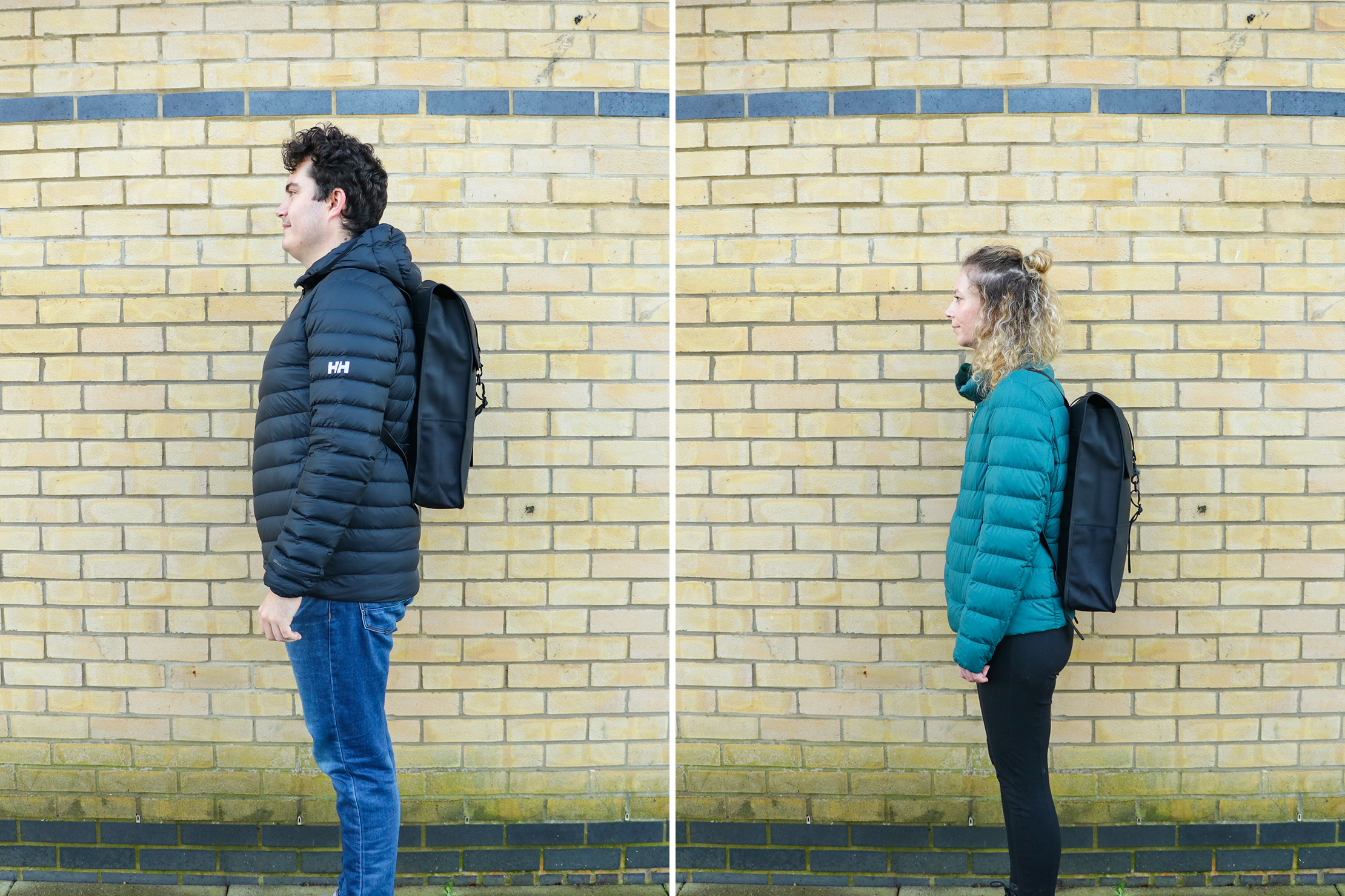 "Left: Rebecca Coates, Height, 5'7"" (170 cm), Torso: 16"" (41 cm) | Right: Nathan Coverdale, Height, 6'4"" (193 cm), Torso: 19"" (48 cm)"