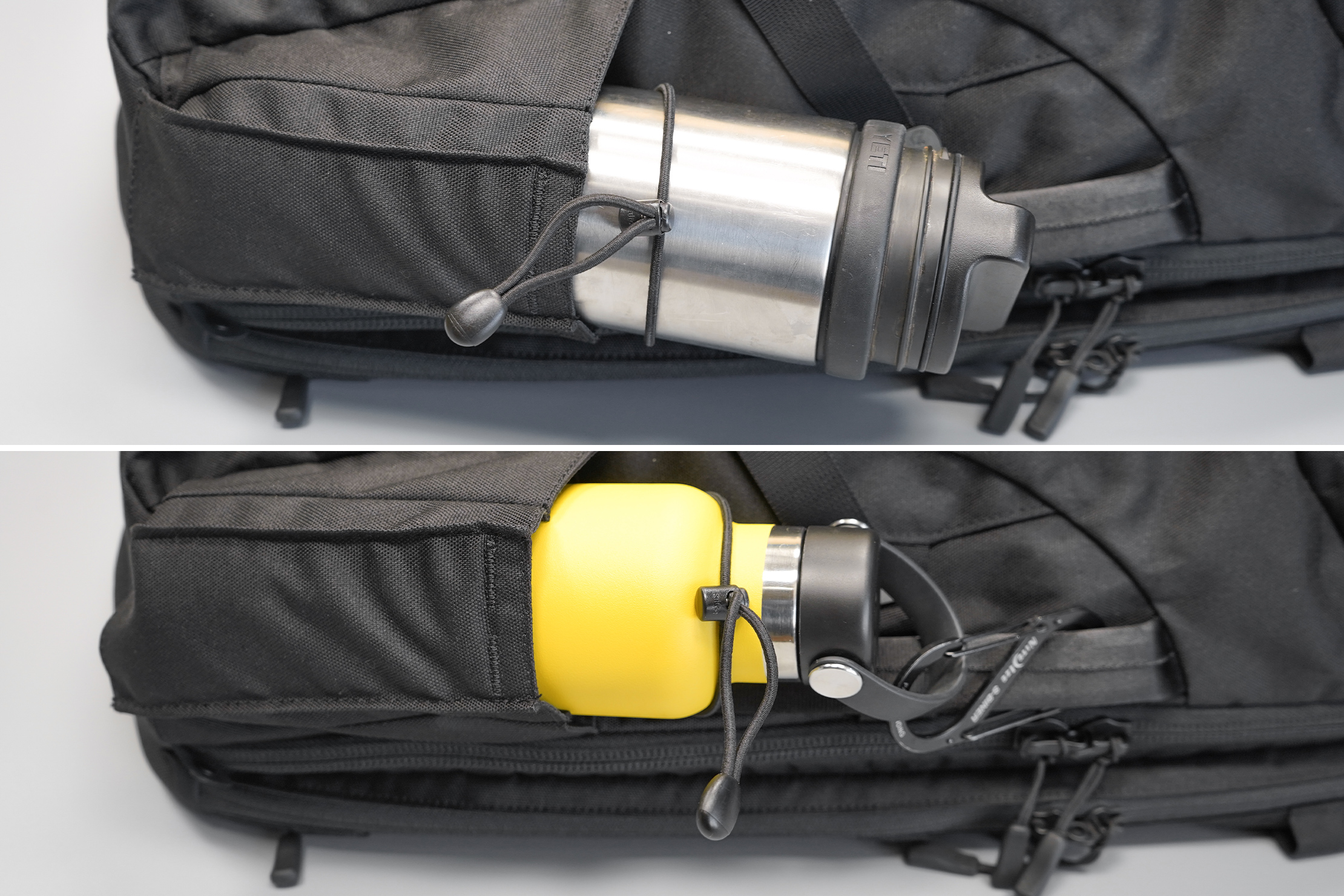 Minaal Carry-On 3.0   The bungee cord isn't up to the task, but a carabiner is