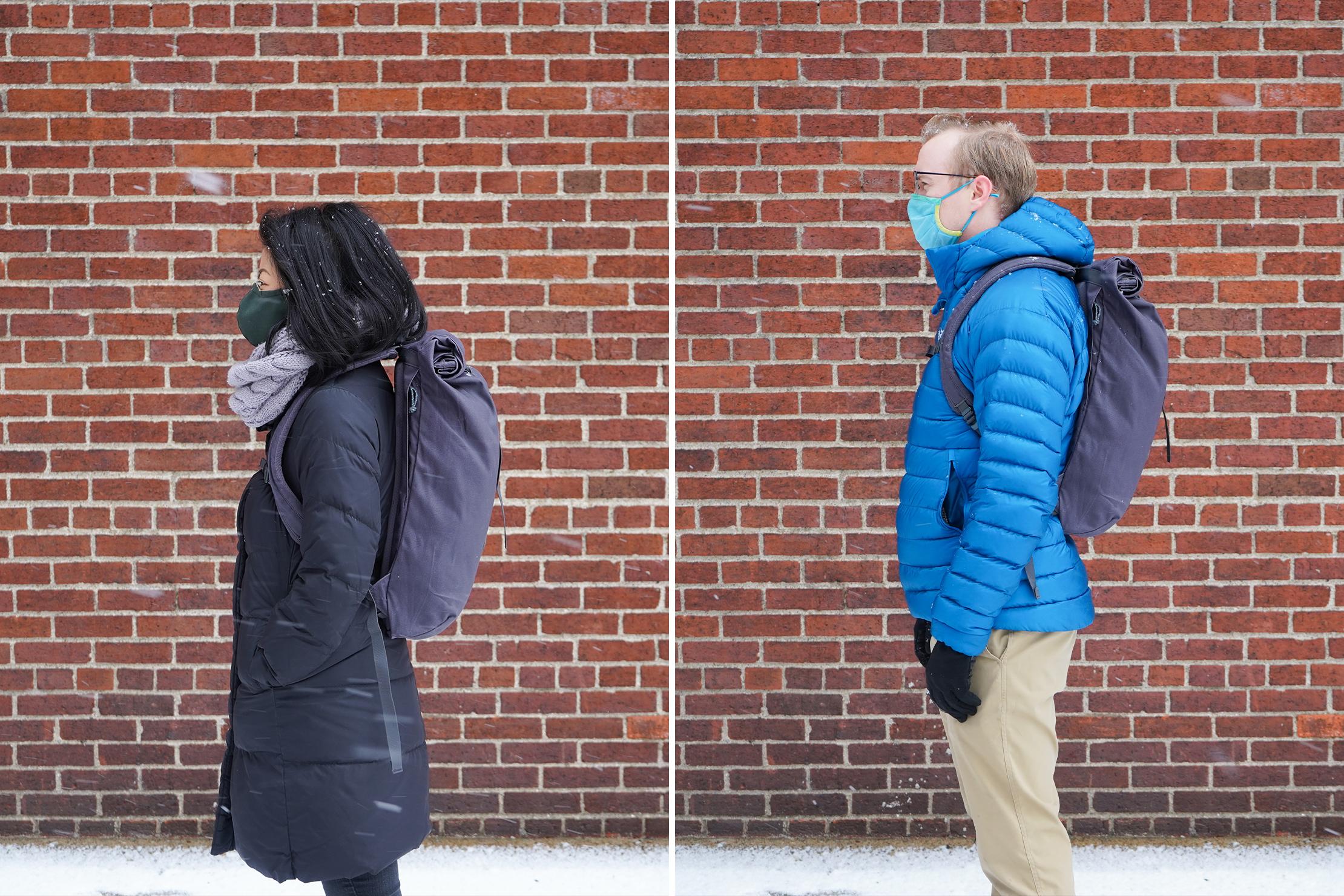 "Left: Lauren, Height, 5'3"" (160 cm), Torso: 17"" (43 cm)   Right: Mark, Height, 5'10"" (178 cm), Torso: 19"" (48 cm)"