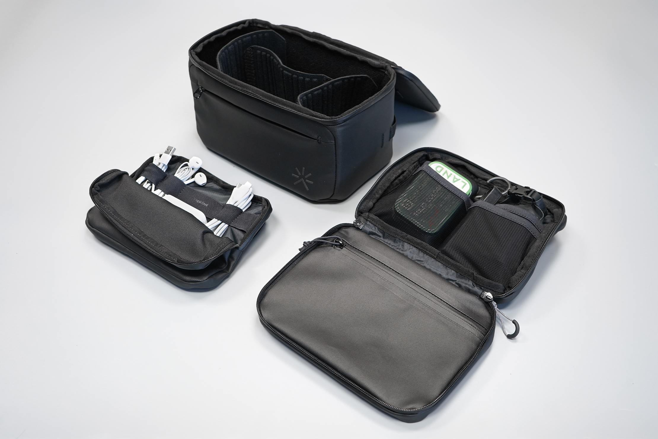 Tropicfeel Shell Travel Backpack | The roster of accessories: a camera cube, a dopp kit, and a tech pouch
