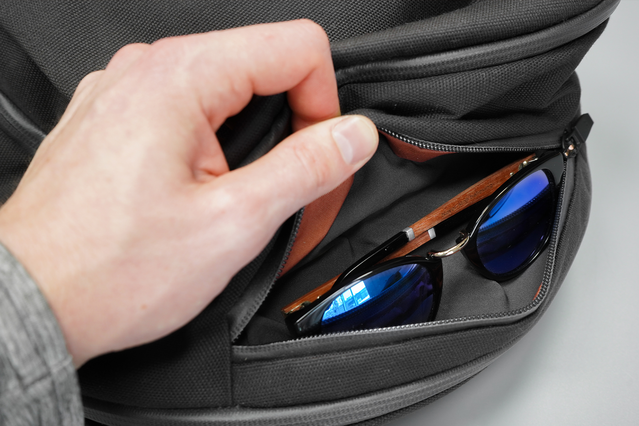 Bellroy Transit Workpack | Your sunglasses are safe from scratches in this top pocket