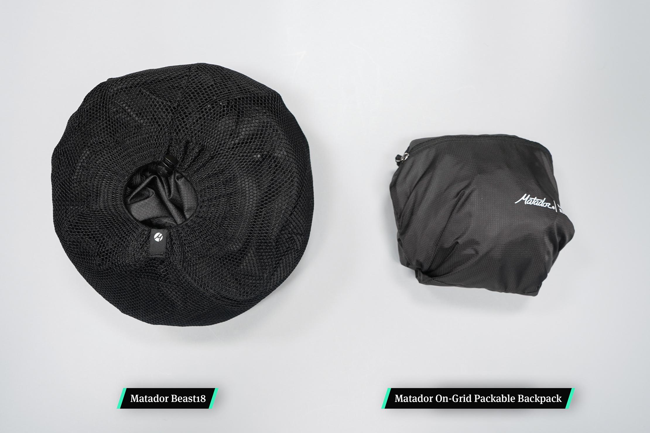Left: Matador Beast18 Compressed | Right: Matador On-Grid Packable Backpack Compressed