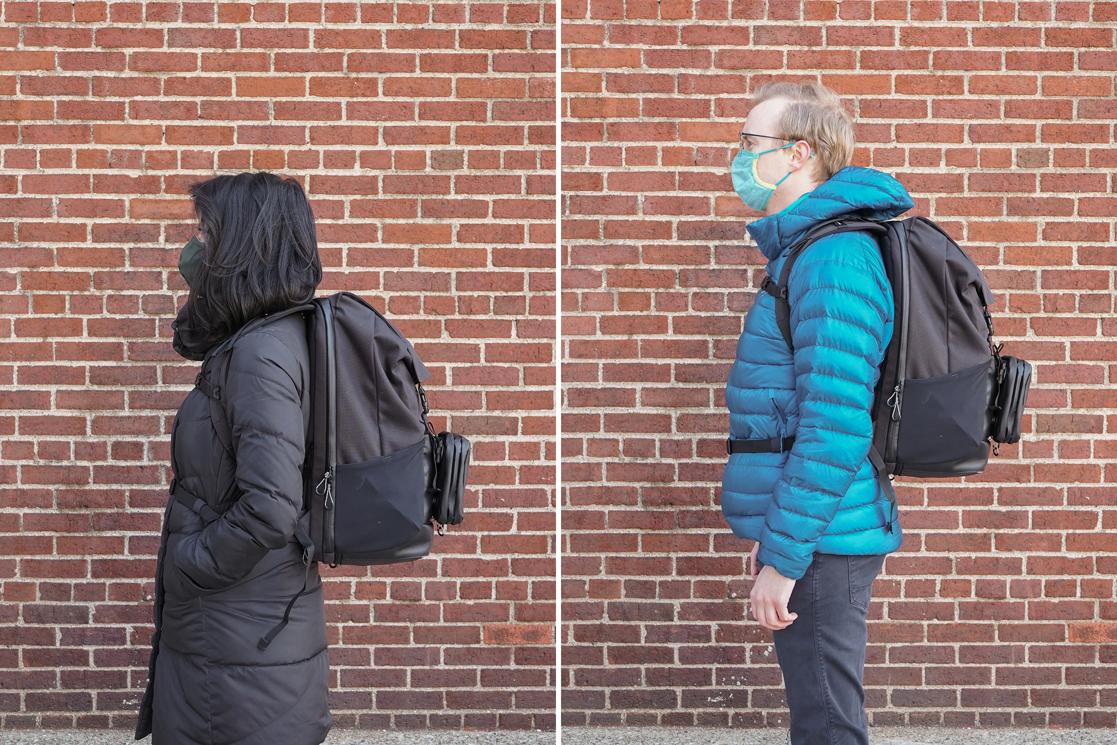 "Left: Lauren Hom, Height, 5'3"" (160 cm), Torso: 17"" (43 cm) | Right: Mark Hurrish, Height, 5'10"" (178 cm), Torso: 19"" (48 cm)"