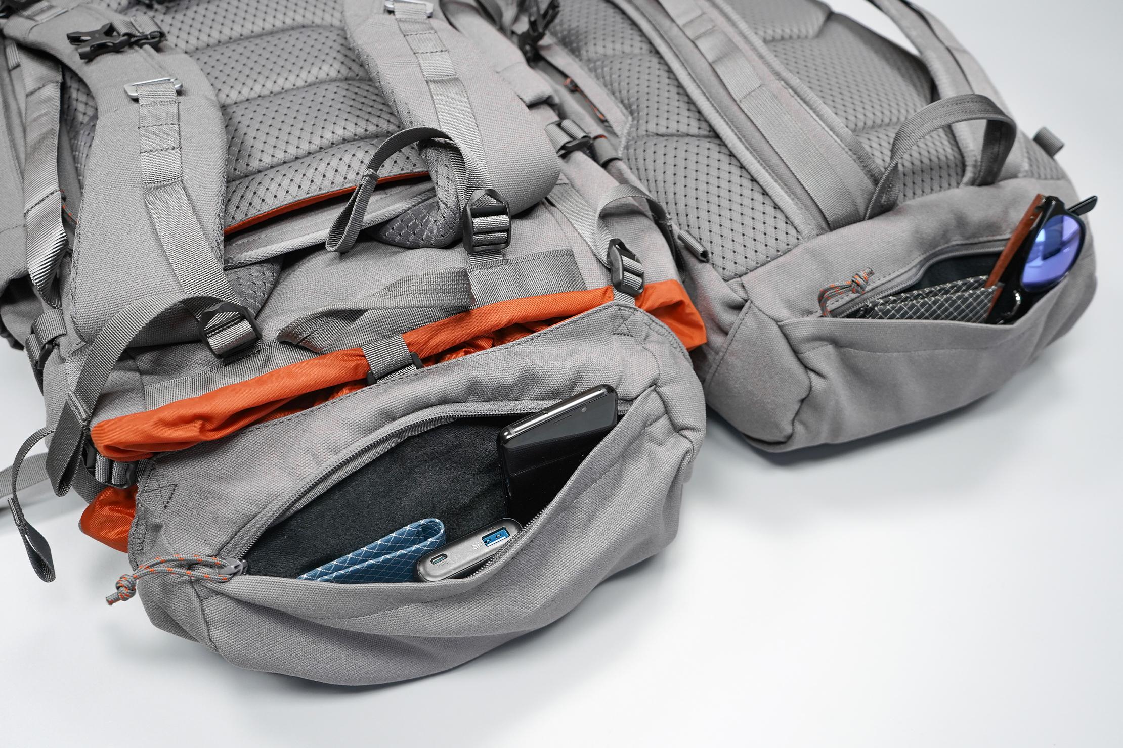 Salkan Backpacker | Left: Mainpack's top pocket | Right: Daypack's top pocket