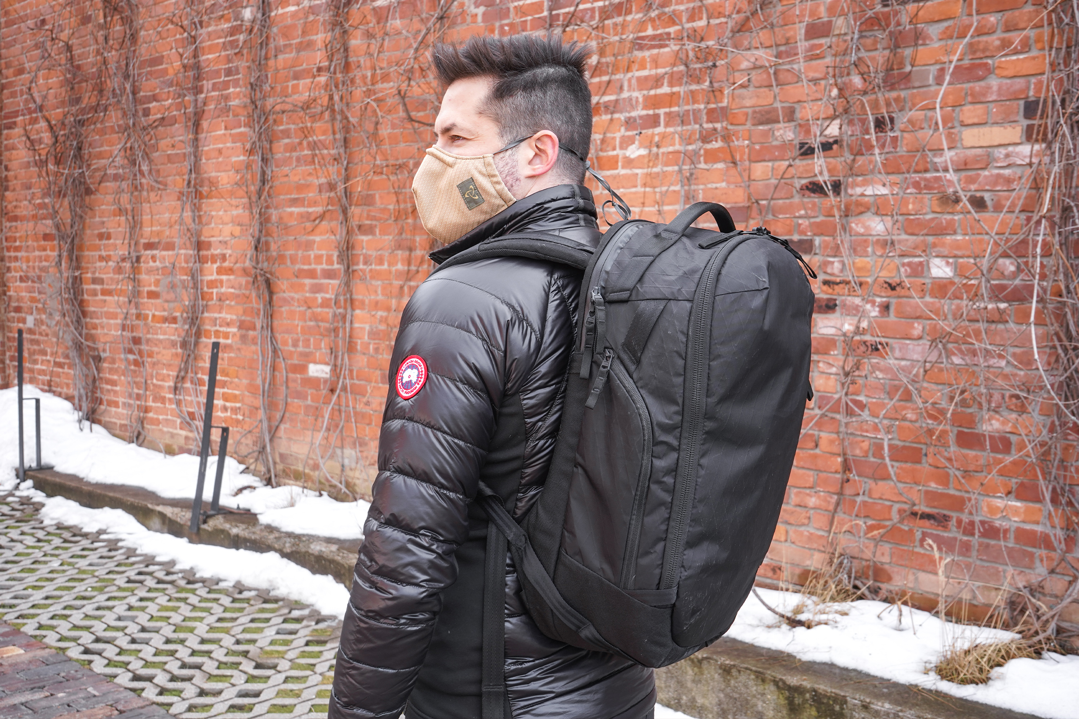 Able Carry Max Backpack | Carrying the backpack to work