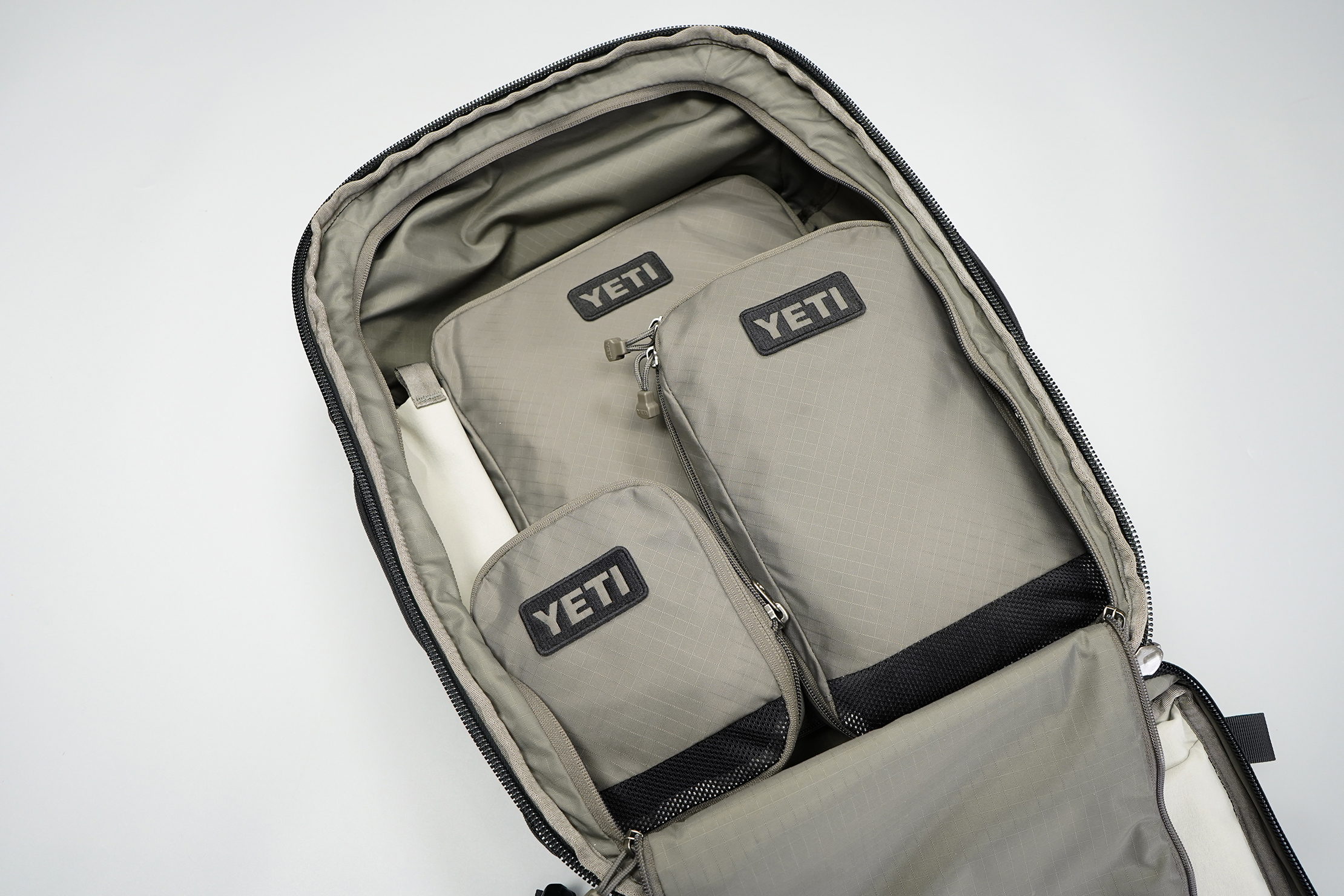 YETI Crossroads 35L Backpack | The clothes compartment, filled with packing cubes.