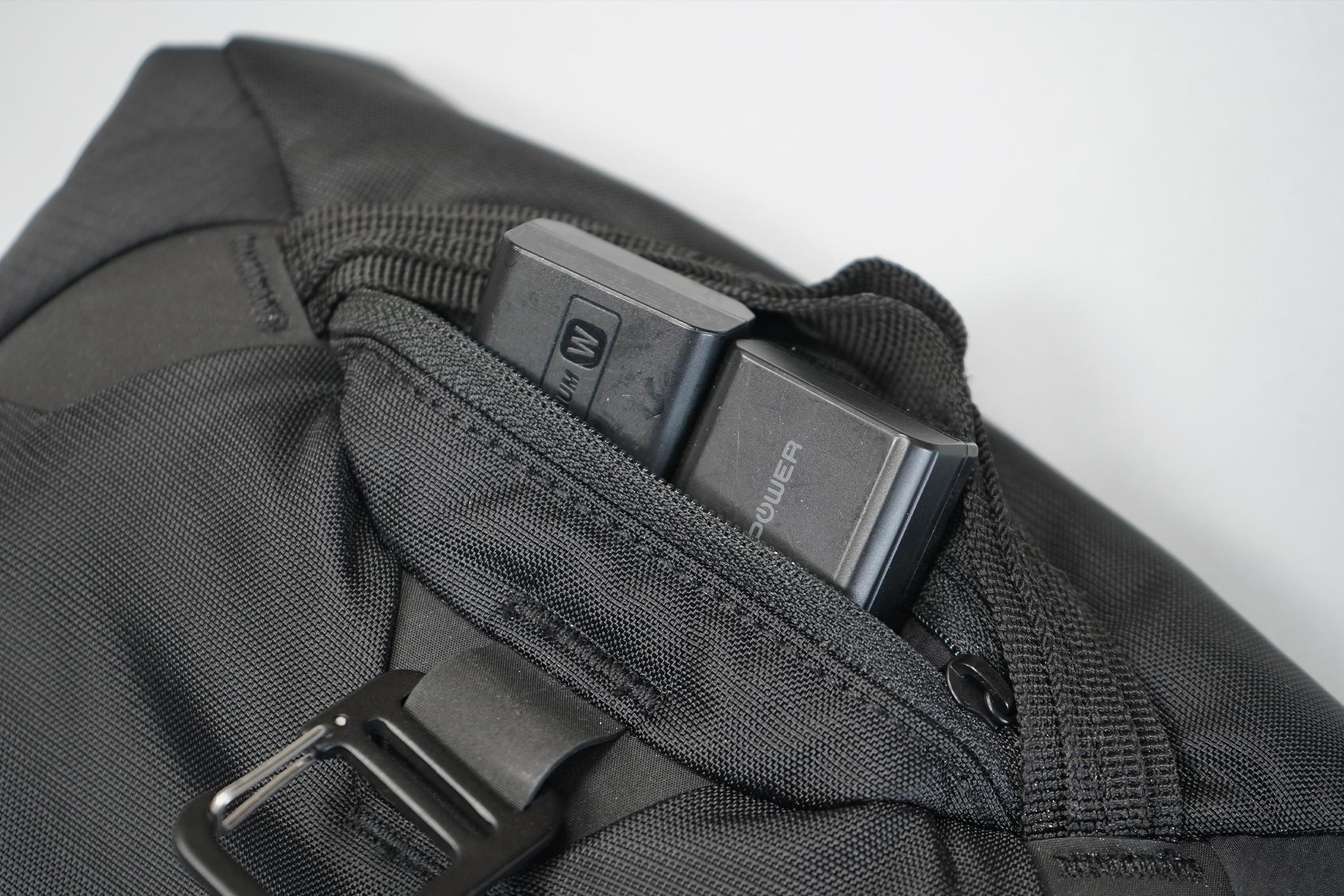 Matador Camera Base Layer 2.0 | The rear pocket for camera accessories.