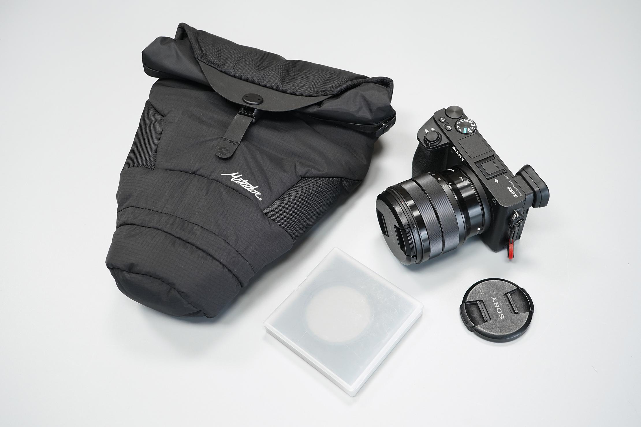 Matador Camera Base Layer 2.0 | The bag next to our camera setup.
