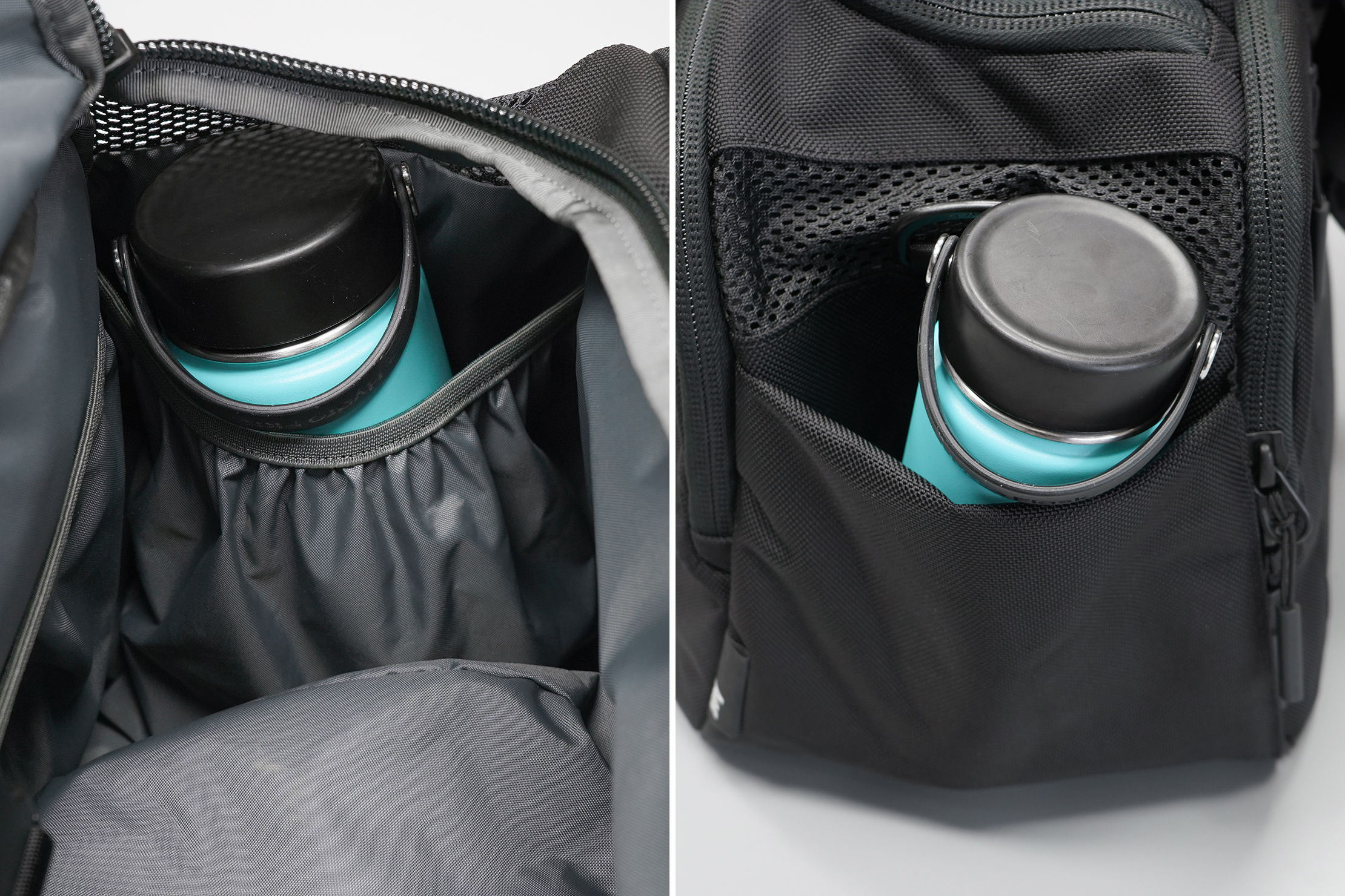 Aer Gym Duffel 3 water bottle pockets.