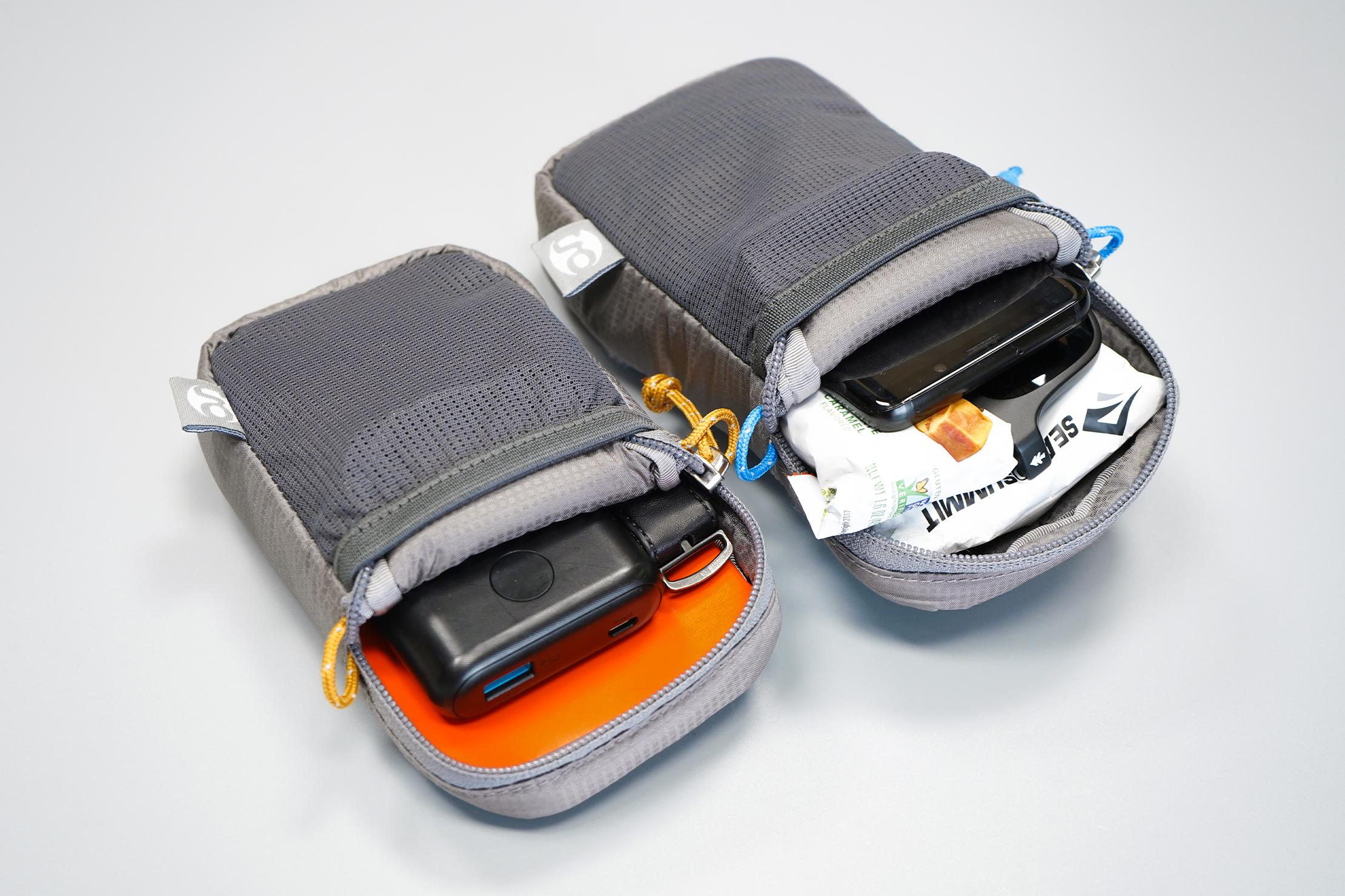 Gossamer Gear Shoulder Strap Pocket | Both sizes filled up