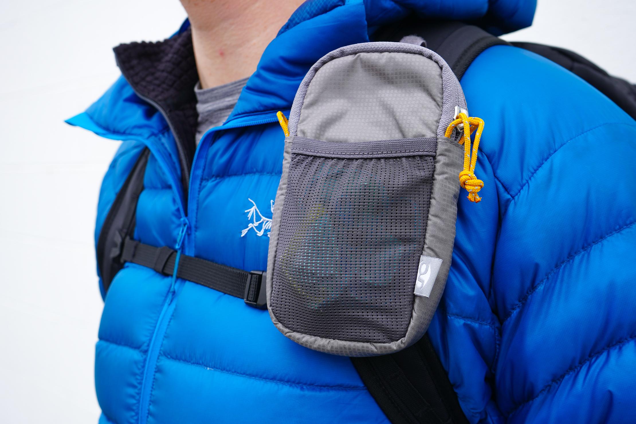 Gossamer Gear Shoulder Strap Pocket | Medium variant attached to a daypack