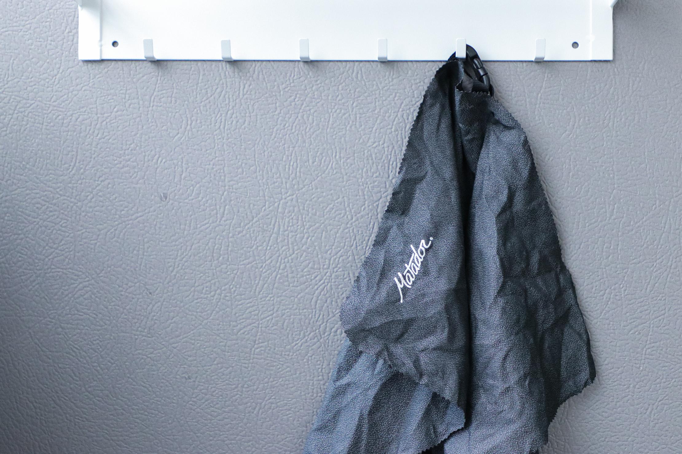 Matador Ultralight Travel Towel hanging up