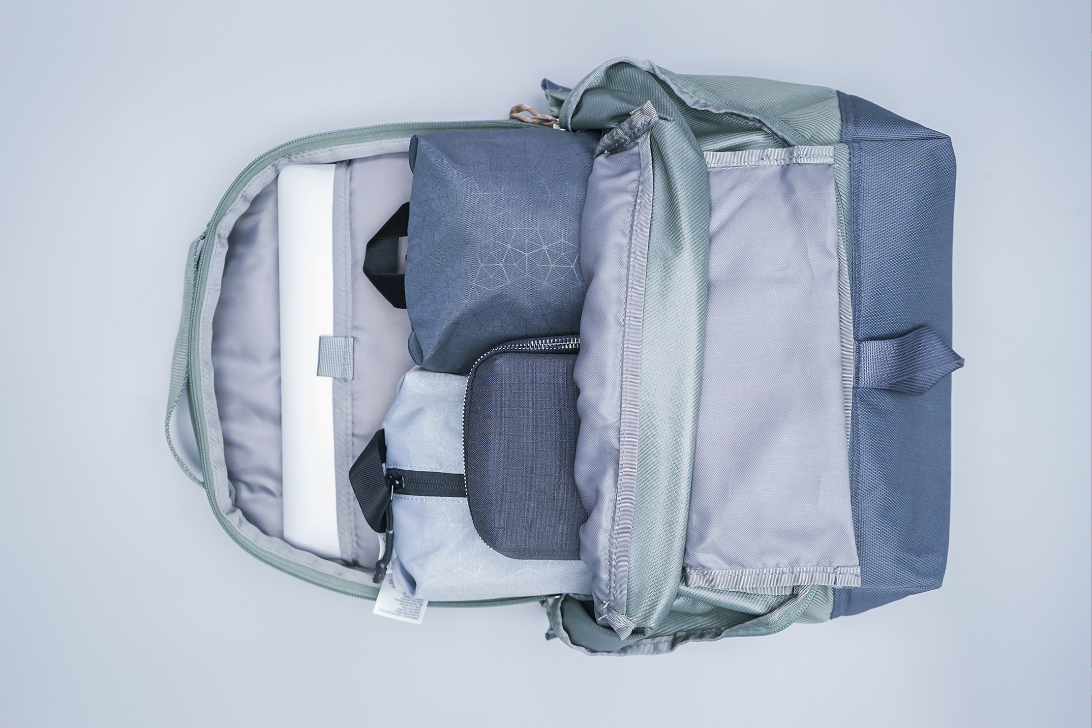 The North Face Daypack main compartment packed