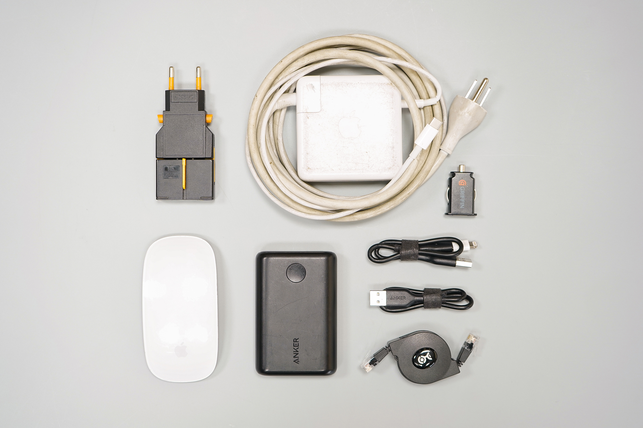 How To Pack a Carry-on Tech Accessories Flat Lay