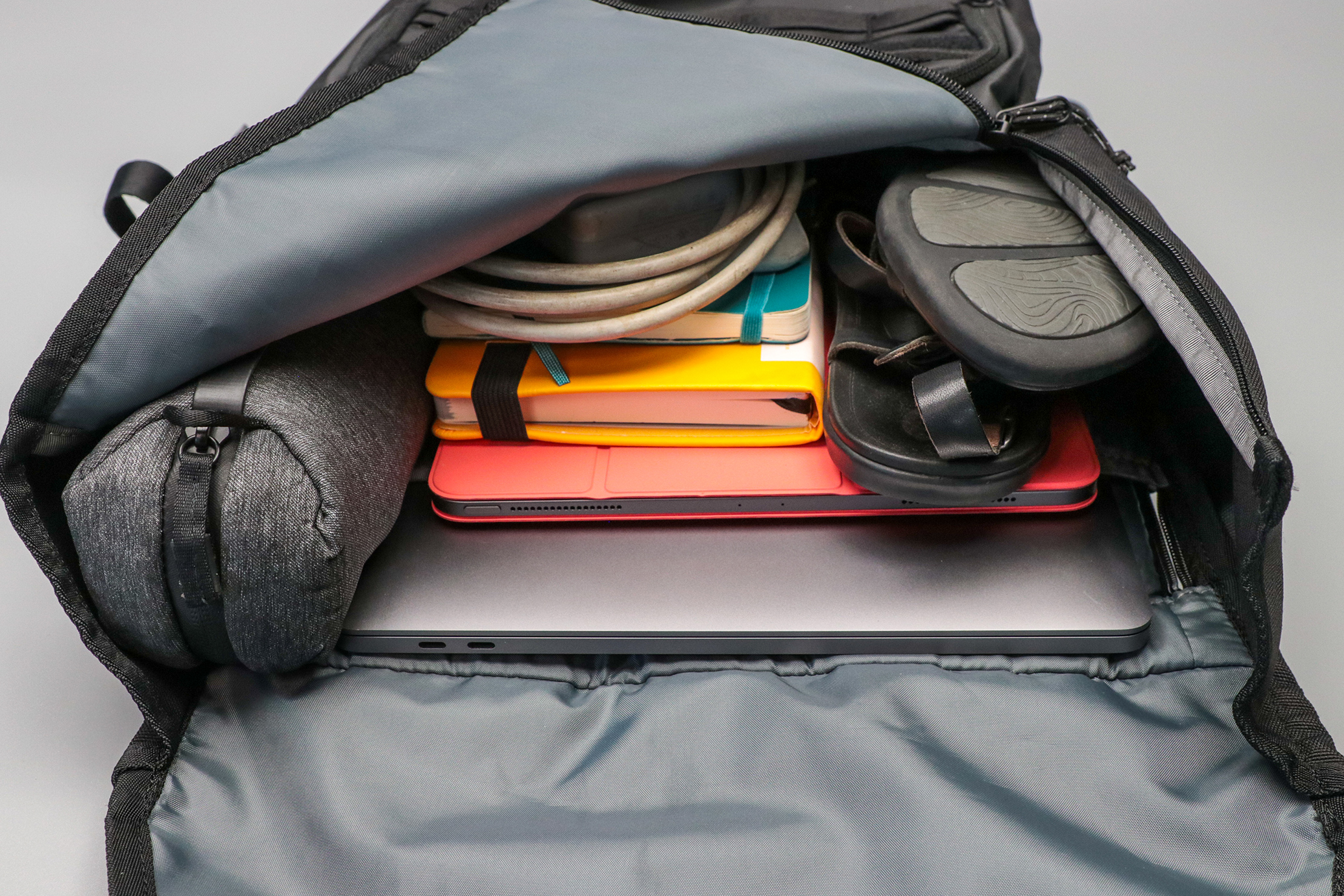 Timbuk2 Spire Laptop Backpack 2.0 packed with gear