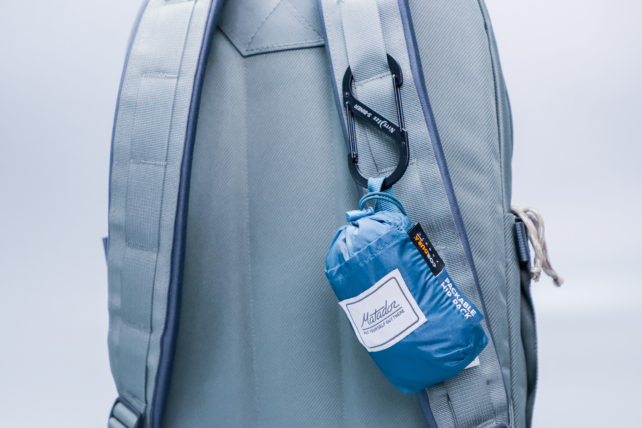 The North Face Daypack clipped to strap