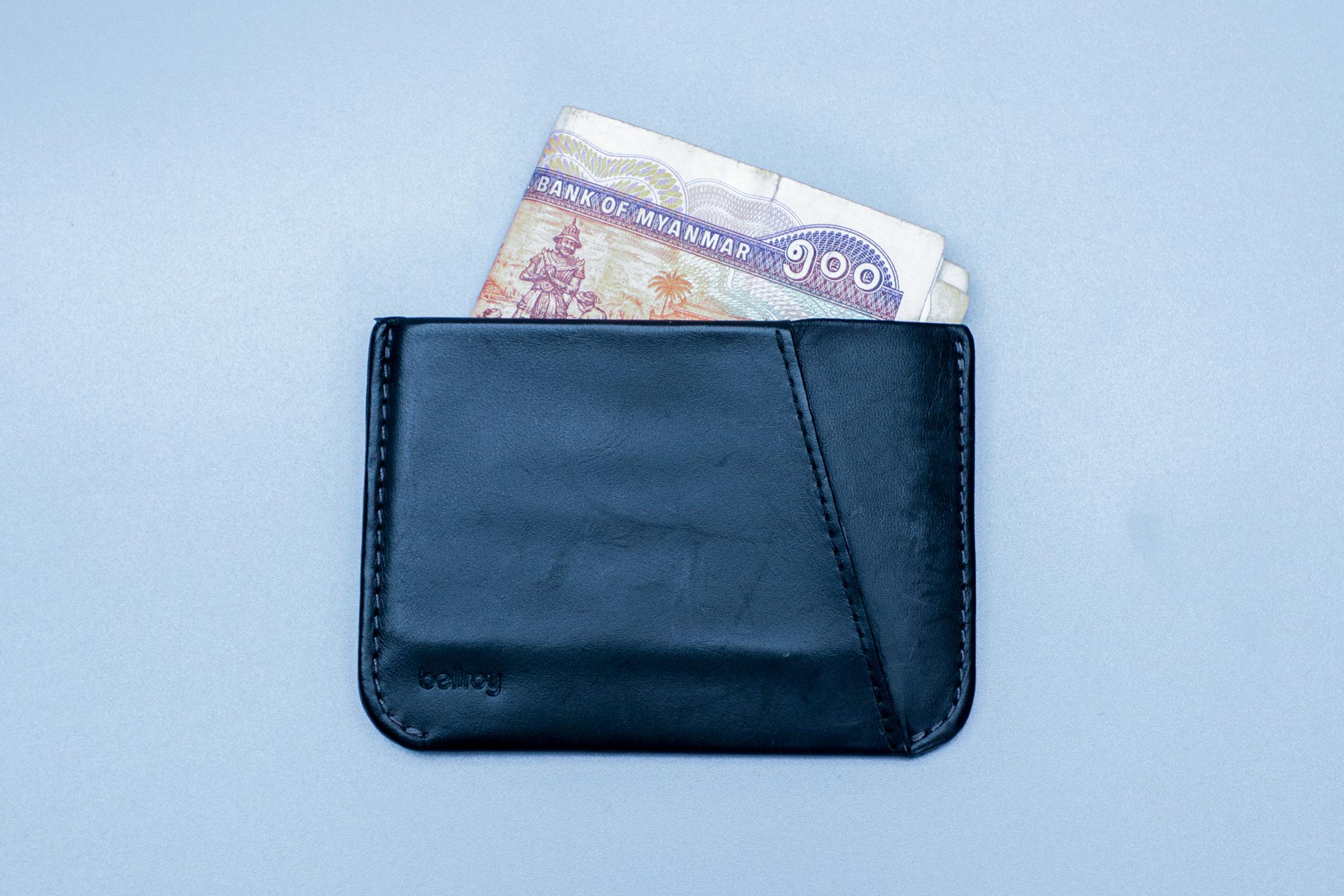 Bellroy Micro Sleeve Cash Peeking Out