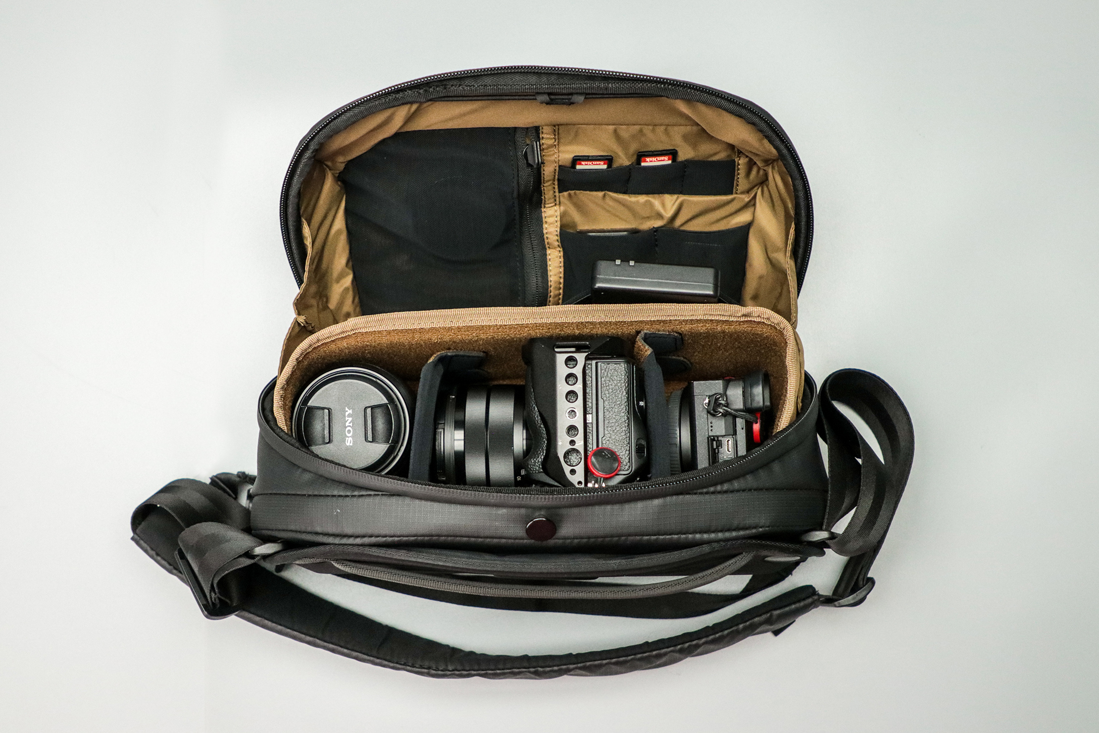 NOMATIC McKinnon Camera Sling 8L Top View Packed with Gear