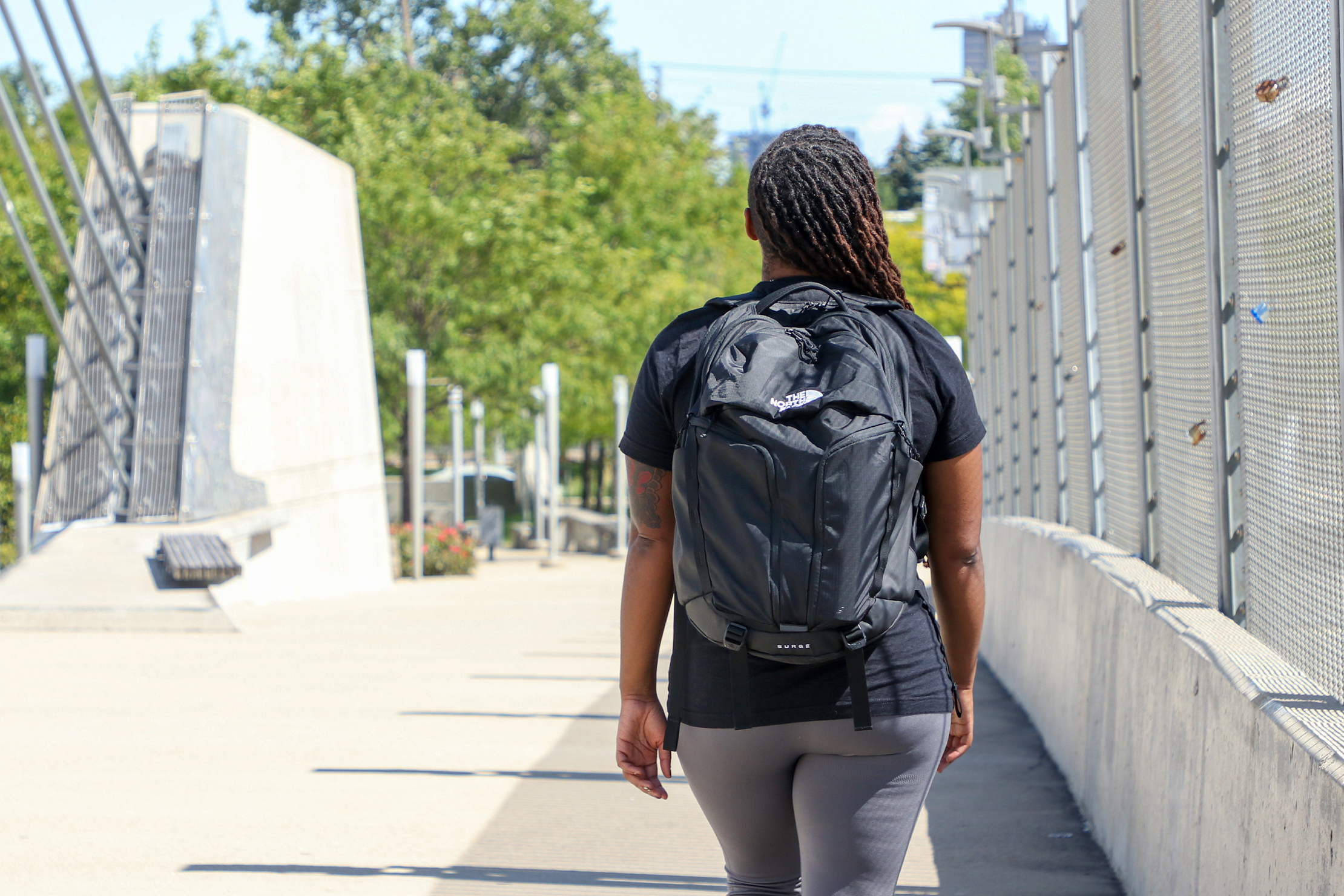 The North Face Surge Backpack outdoors