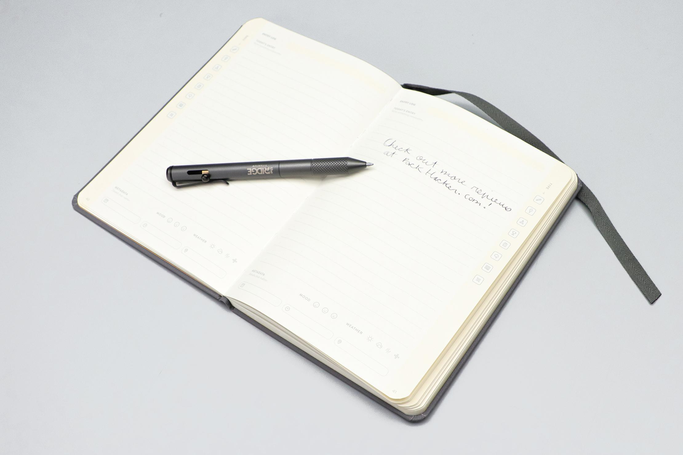 The Ridge Bolt Action Pen on notebook
