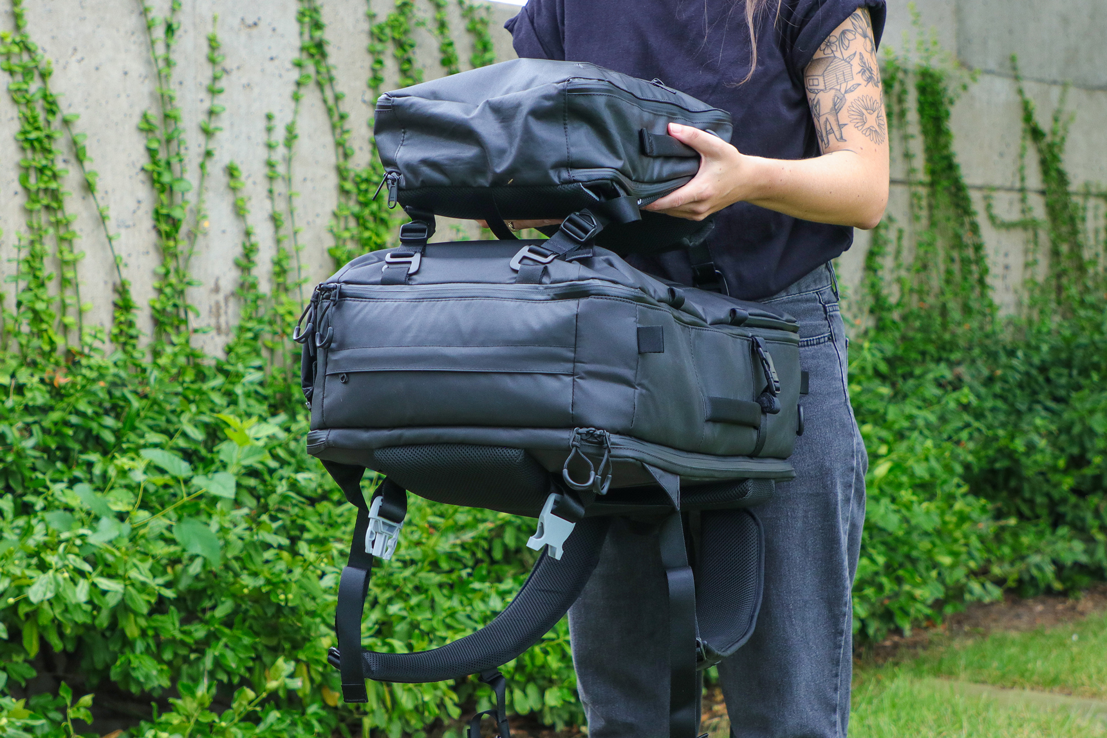 Gravel Backpack Travel System 11L Attached to Outside 42L 1